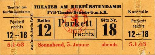 Eintrittskarte für das Theater der Freien Volksbühne (Die Grotte, 5.1.1963)